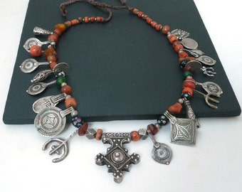 Antique Moroccan Berber Necklace //  Silver Pendants //  Coral Amber Beads // Anti-Atlas Tribal Necklace // Vintage Jewelry