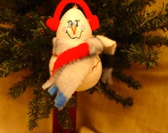 Hand crafted and painted gourd art snowman Christmas ornament by Debbie Easley 29