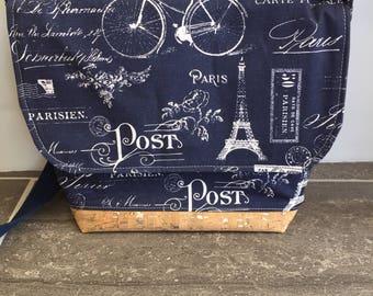Blue messenger bag, crossbody bag, JW service bag,  ministry bag, cork fabric