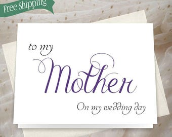 To my mother on my wedding day card, to my mother card, mother of the bride card, mother of the bride thank you card