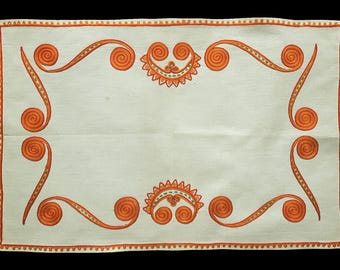 Vintage embroidered small table runner