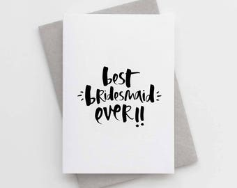 Thank You Bridesmaid Card - Best Bridesmaid Ever Card - Thank You Beautiful Bridesmaid Card - Bridesmaid Thank You Card Pack