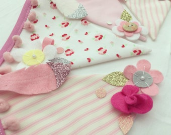Pastel pink glitter bunting nursery decoration