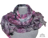 Christmas gift Nuno Felted Scarf Gray Pink Felted Scarves Warm Scarf  Felt Wrap Felted Scarf Soft Felt Wool Women Gift for Her art to wear