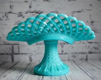 Turquoise Aqua Blue Fenton Milk Glass Banana Bowl, Fenton Blue Milk Glass Lace Edge Hobnail Banana Pedestal Dish Centerpiece