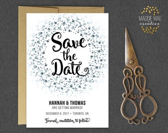 Printable Save the Date // Save Our Date Announcement, Winter Colors, Marriage Announcement, Wedding Invitations, Custom Save the Date Card
