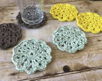 HANDMADE Doily Coasters. Boho Coasters. Crocheted Coasters.