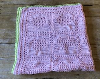 HANDMADE Crocheted Baby Blanket. Pink Baby Blanket. Heart Blanket. Babyshower. Baby Girl.