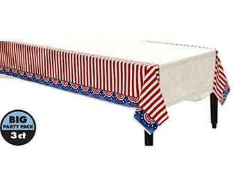 Big 3 Pack!! 54in wide x 84in long Patriotic Plastic Tablecovers - American Pride Bunting Theme Tablecloth - July 4th - Red, White & Blue