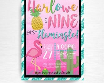 Pink Flamingo Party Printable Invitation YOU Print Pink Aqua Glitter Black Summer Birthday Cactus Pineapple