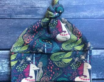 Organic Knot Hat - Unicorn Meet Mermaid - baby knot hat, organic coming home, mermaid baby clothes, unicorn baby clothes, preemie baby hat