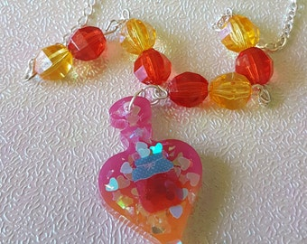 Kawaii pink and orange perfume short  beaded necklace