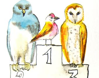 Bird art, contest, winners, original drawing, pen and ink, northern harrier, linnet, barn owl
