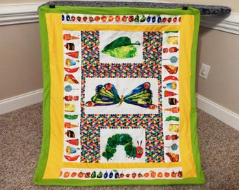 Quilt made from The Very Hungry Caterpillar fabric, Blanket made from The Hungry Caterpillar Fabric, Baby Toddler Cotton Quilt, Forty Ravens