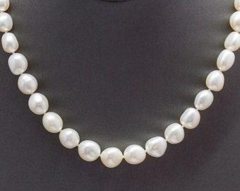 "White Baroque Pearl Sterling Silver Strand Necklace 17.5"", Pearl Necklace, Sterling Silver Strand Necklace, White Pearl Necklace"
