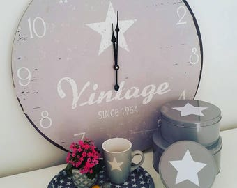 Large Grey Wood VINTAGE Wall Clock