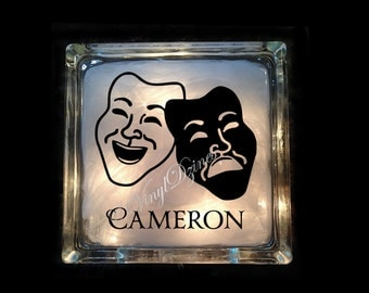 Personalized Drama Light- Theater Masks Lighted Glass Block - Custom Theater Nightlight - First Name Drama Light GB-1075