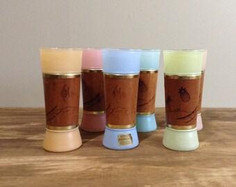 Mid Century Tiki Glasses / Vintage Siesta Ware Frosted Glass, Mahogany Wrapped Highball, Tumbler / Polynesian Barware / Set of 6