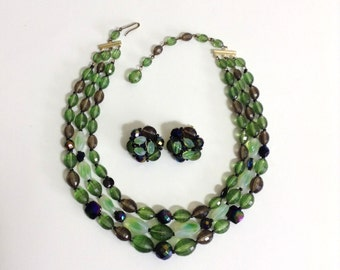 Vintage Triple Strand Beaded Necklace and Earrings Set / Green 3 Strand Beaded Necklace and Clip On Earrings / 1950's