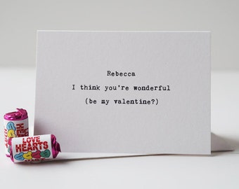 You're Wonderful Valentine's Day Card - Be My Valentine - Personalised Card - Romantic Card - Couples Card