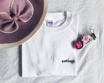 "Tumblr Embroidered ""sundaze"" T-Shirt (customize!) Active"