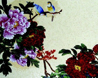 Two blue birds on a tree branch Glass Mosaic Mural