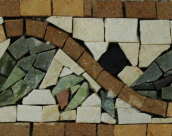 Mosaic Art Border - Green Leaves