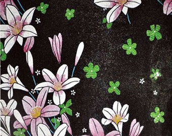 Pink Flower on Black Background Glass Mosaic Mural
