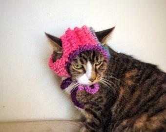 Crochet Cat Dog Hat Unique Handmade Pink Ombré Pet Accessories