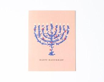 Floral Menorah Hanukkah Card, Pretty Hanukkah Card