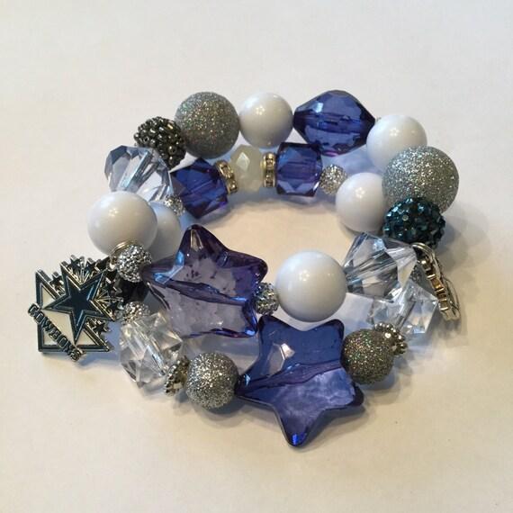 womens dallas cowboys beaded charm bracelet. Black Bedroom Furniture Sets. Home Design Ideas