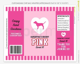 Custom Victorias Secret Themed Pink Stripes with Dog Chip Bag Wrapper Labels / Customized DIY Printable