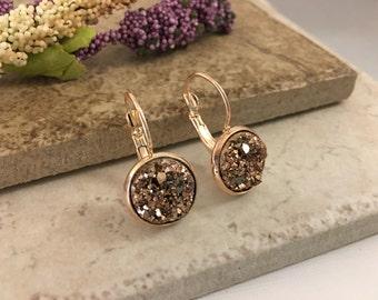 Faux Druzy Bronze Drop Vermeil Earrings 12 mm