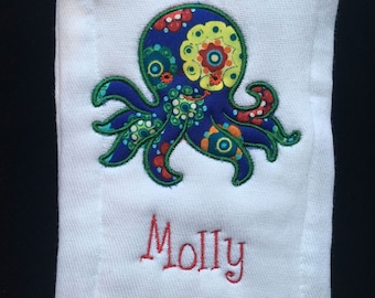 Personalized Burp Cloth with Applique Embroidered Pattern