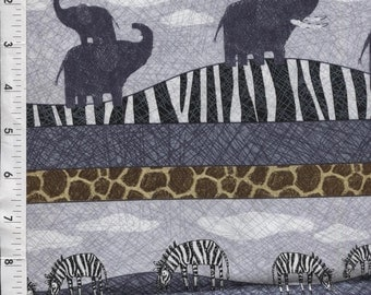 "Quilting Treasures ""Amboseli"" Safari Animals Stripe Fabric"