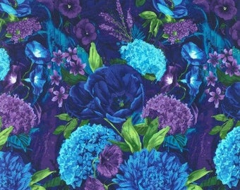Midnight Luscious Hydrangea Bouquet Shappire Blue Fabric