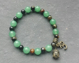 aventurine and tigerseye bracelet,  Buddha and ohm charm, healing bracelet