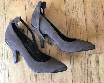 SALE - Gray Ankle Strap Shoes - Size 6