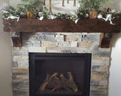 Fireplace Mantel Floating Rustic Knotty Alder Vintage Salvaged Beam Post Tie Rail Timber Antique Washers Distressed Barnwood Hearth Mantle