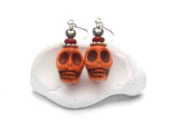 Orange sugar skull earrings, sugar skull jewelry, day of the dead, dia de los muertos, halloween earrings, sterling silver