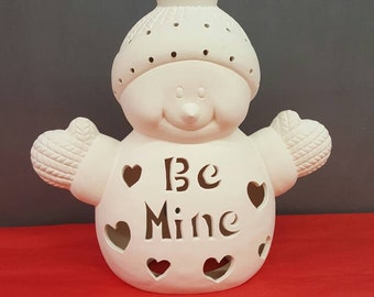 Valentines Day Snowman - Ready to Paint Ceramic Snowman - Be Mine - Valentine - Ceramic  Bisque - Valentines Day Gift - U-Paint Ceramic