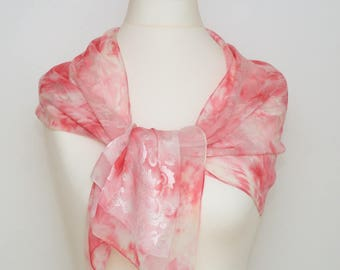 Pink spring inspiration, hand-painted silk scarf, free shipping