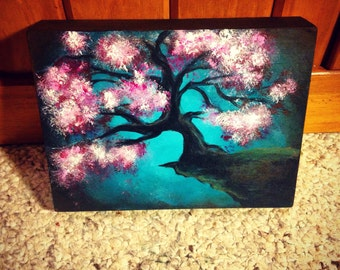 Japanese Cherry Blossom Acrylic Painting