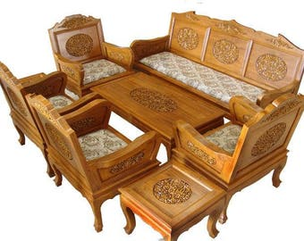 Carved Teak Wood Living Room Furniture Set With Beautiful Flowers Details.  (2 Inches Of Part 65