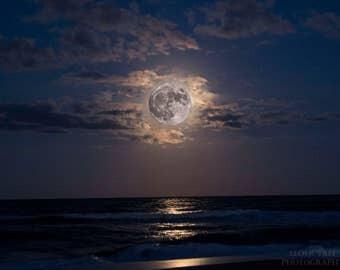 Beach Moon Instant Photo Download, Insta-Photo, Digital Art, Landscape Photography, Night Sky, Artistic, Lavender, Ocean, Moonlight
