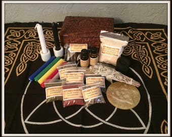 Triquetra Wiccan Altar Box Kit ~ Triquetra Floral Carved Mango Wood Box  ~ Travel Box ~ Witch ~ Wicca ~ Herbs ~ Candles ~ Oils ~ Incense