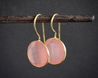 Rose Quartz Earrings, Gold Drop Earrings, Rose Quartz and Gold, Round Earrings, Quartz, Pale Pink Gemstone, Gold Vermeil