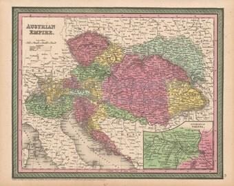 Austrian Empire Antique Map Cowperthwait 1853 Original Austrian Decor Housewarming Anniversary Gift Ancestry History Gift