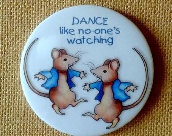 "Mice Dancing, 3.5"" Big Round MAGNET, After Beatrix Potter, Dance Like No One's Watching, Original Art"