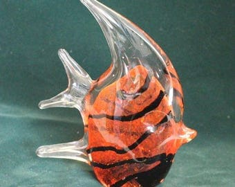 Large Glass Paperweight Fish Glass with design inside Murano Hand Fused Vinci by Dynasty Gallery Orange and Black